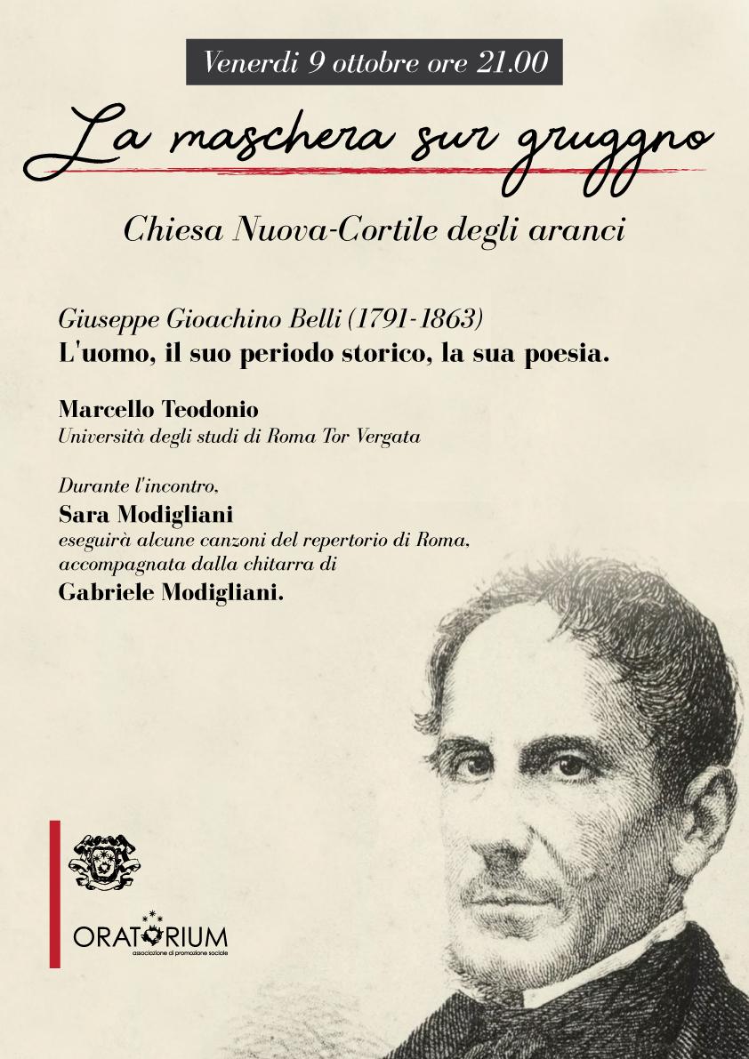 Venerdì 9 Ottobre, ore 21.00 – La maschera sul gruggno – Incontro su Giuseppe Gioacchino Belli